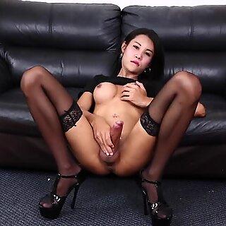 Sexy slim ladyboy with big tits solo
