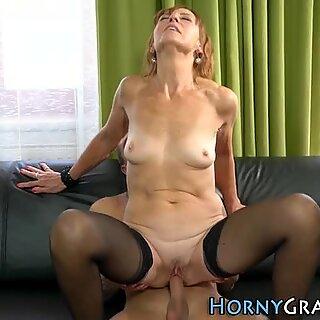 Stockings granny spunked