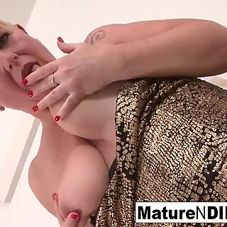 blonde mature keeps her stocking on for screwing black cock
