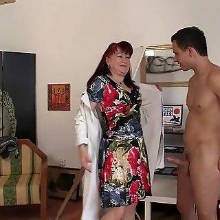 Hot grandma enjoys riding his big meat
