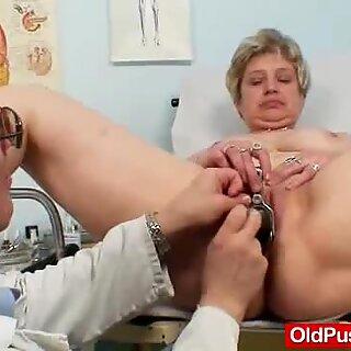 Busty grandmother Ruzena visits gyno fetish clinic