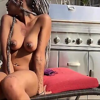 Dazzling Black Teen Dildoing Her Pussy For Her Lover