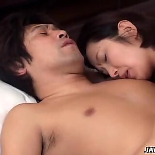 Brunette Asian MILF Kyoko Hayama gives head and gets her boobs licked
