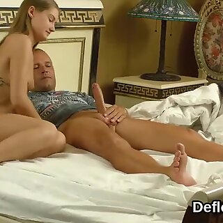 Gorgeous blonde Enzio Ricci happily sucks her first cock