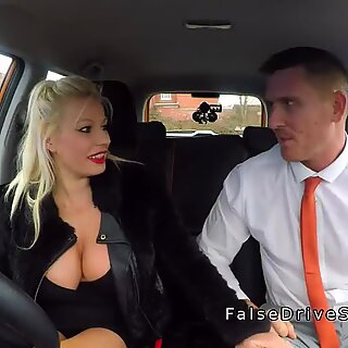 Driving examiner looks at fat funbags