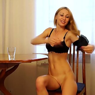 Mature masturbating in the kitchen