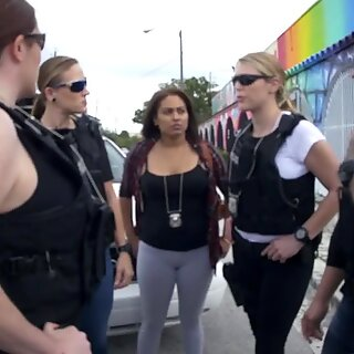 Horny fat sluts in cop uniforms share and gag deep on BBC