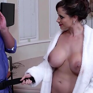 Eva milks a dick with her tits