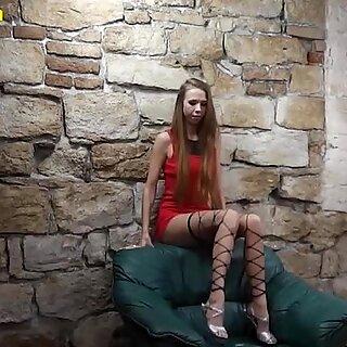 Skinny blonde wears just stockings