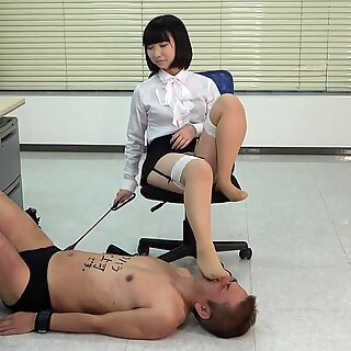 Japanese Femdom Office Lady Foot Fetish and Facesitting