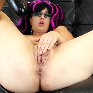 aggressive meaty pussy spreading with XXL inflatable dildo and cork