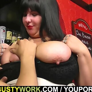 Bar owner bangs busty barmaid for the job