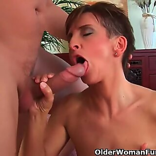Soccer mommy in dark-hued stockings and lingerie gets drilled rock-hard