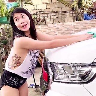 Boso Osus in White Panties while Car washing!!